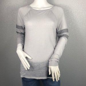 INC Sheer Light Gray Long Sleeve Top Size Small